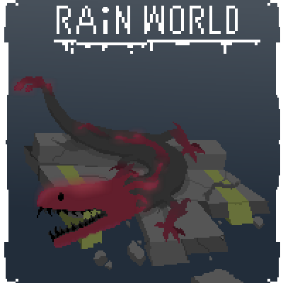 pixel art (Rain world) Purple Dragon   world lizard Rian glow by Doctor_Pivot piq