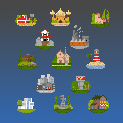 pixel art little city building mini city house 8bit pixel by Jankovic123 piq