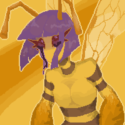 pixel art poison bee by Yoruitte piq